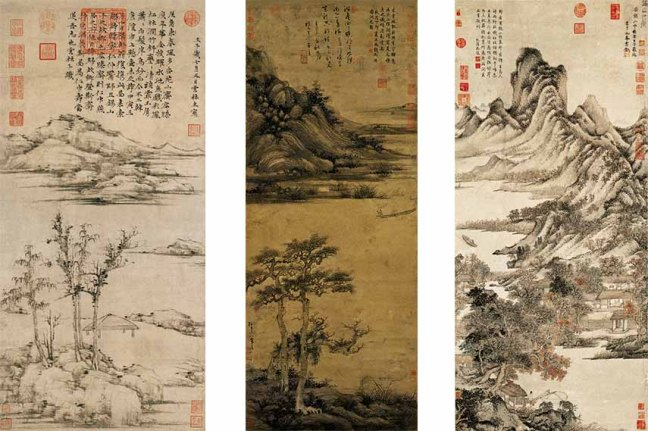Left-Ni-Zan-Rongxi-Studio-Middle-Wu-Zhen-Fisherman-in-Reclusion-at-Dongting-Right-Wang-Meng-Thatched-Cottage-in-Autumn-Mountains-all-via-comuseum-com